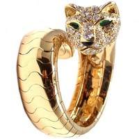 Cartier Panther Panthere 18K Yellow Gold Diamond Emerald Ring