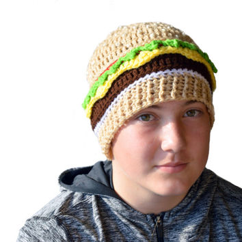 Crochet Cheeseburger Beanie, Adult Food Beanie, Hamburger Hat, Knit Cheeseburger, Novelty Hat, Mens Hat, Womens Hat, Teen Hat, Handmade Gift