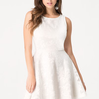 bebe Womens Reese Floral Applique Dress White