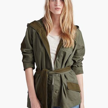 Lucky Brand Military Trench Womens - Green Multi