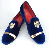 New Handmade Men Gold Buckle Loafers Slippers Shoes Men Blue Velvet Shoes with Red Bottom Party and Wedding Slip on Men't Flats