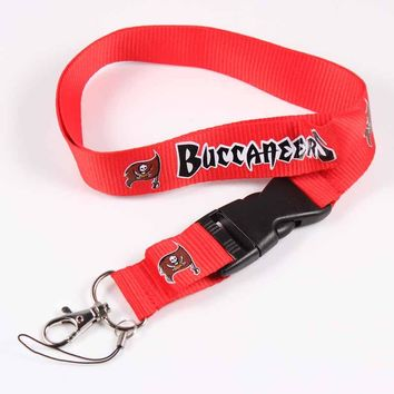 Tampa Bay Buccaneers Key Lanyard ID Badge Holders Sport Cellphone Neck Straps With Buckle Keyring American Football Fan Jewelry