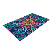 "Amanda Lane ""Blooming Mandala"" Blue Purple Woven Area Rug"