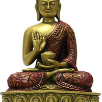 Nepali Buddha Statue in Blessing Pose, Gold and Red 5H