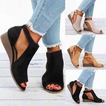 NEW LADIES WOMENS WEDGE SHOES LOW HEELS SUMMER OPEN TOE PUMPS SANDALS BOOTS SIZE