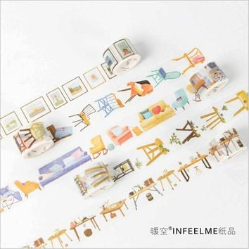 10 Patterns Happy Life Ideal home furniture Washi Tape Adhesive Tape DIY Decoration Planner Scrapbook Sticker Label Masking Tape