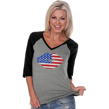 Ladies USA T-shirt Patriotic Lips V-Neck Raglan
