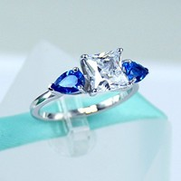 2Carat Princess Cut Simulated Diamond, Blue Pear Sapphire 925 Sterling Silver Solitaire Ring, Cubic Zirconia Stone, Daily Ring, Engagement Ring, Promise Ring, Women