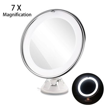RUIMIO 7X Magnifying MIrrors With Power Locking Suction Cup Bright Diffused Light 360 Degree Rotating