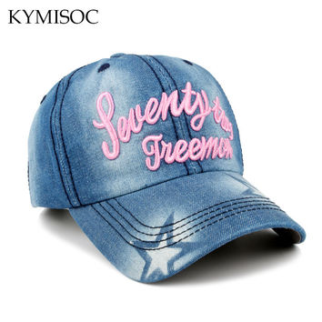 2017 New Fashion Baseball Hat Sunshading Caps Denim and Cotton Snapback Cap Duck Cap Leisure Embroidery Letters Sun Hat