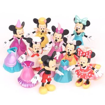 Disney Mickey Mouse Action Figures 8 Pcs/set Disney Toys Minnie Mouse Figures for Girls Birthday Gift PVC Model Toys
