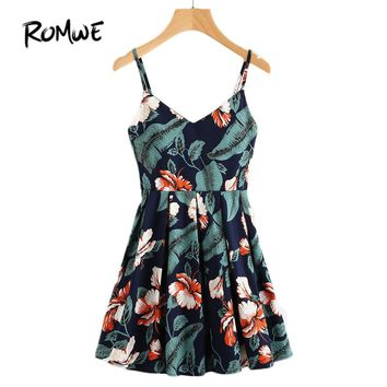 Multi Color Spaghetti Strap Leaf Floral Print Random Box Pleat Dress Women Summer Dress Sleeveless A Line Dress