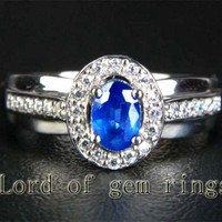 Oval Sapphire Engagement Ring Pave Diamond Wedding 14K White gold 4x6mm .89ct