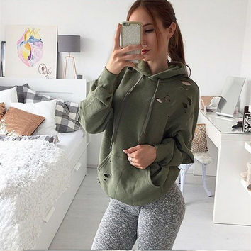 2016 Women Casual Vintage Stylish Army Green Hooded Loose Solid Velvet Woollen Autumn Winter Sweatshirt Coat Ripped Hole Pocket