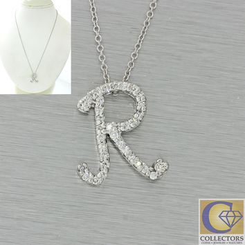 Modern Roberto Coin 18k White Gold .35ctw Pave Diamond R Initial Pendant Necklac