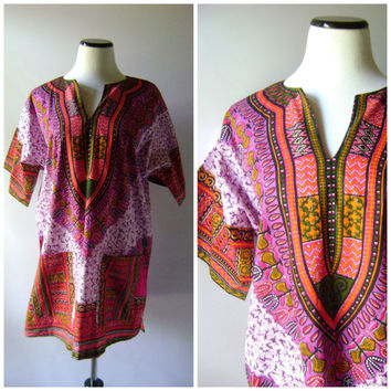 70s Dashiki Tunic Dress Vintage Ethnic Print Hippie Mini Dresses Size M/L Medium Large Pink Purple Tribal Design 1970s Boho Festival Blouse