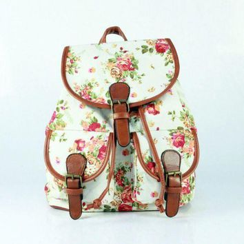 ONETOW Day-First White Floral Cute Large College Backpacks for School Bag Canvas Daypack Travel Bag