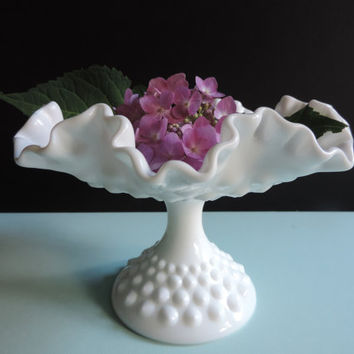 Fenton Hobnail Milk Glass Pedestal Footed Compote Mid Century Fenton Hobnail MilkGlass Wedding Decor Candy Dish Flower Vase
