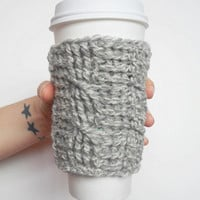 Cable Stitch Coffee Cozy in Grey Marl Wool, ready to ship.
