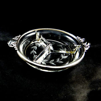 Webster Sterling Silver Three Section Relish Dish with Etched Glass from the 1940s