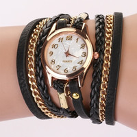 New Fashion Wrap Around Bracelet Watch Bowknot Crystal Synthetic Leather Chain S D_L = 1713085828