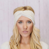 Turband Headband Stretchy Workout Hair Band in Ivory Cream (T01)