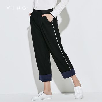 VING Casual Pants Female Personality Hit Color Woolen Ankle-Length Straight Pants Elastic Waist Trousers
