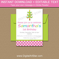 Girl Christmas Birthday Invitation - 1st Birthday Invitation - First Christmas Invitation Template - EDITABLE Christmas Party Printables C1