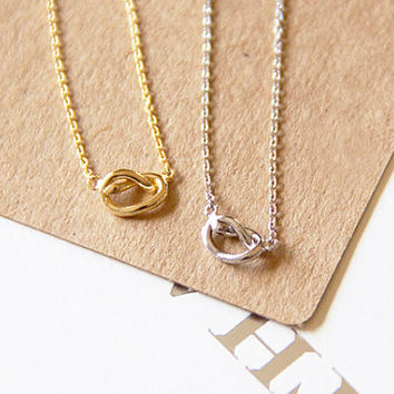 Tiny Twisted Knot Charm Necklace, Dainty Charm Necklace, Necklaces, Hipster Necklace, Charms, Holiday Gifts, Gift Ideas
