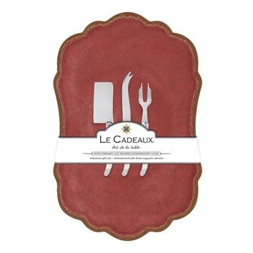 Antiqua Red Large Cheese Board with Utensils