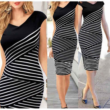 Favolook Summer Women Dress 2016 Cotton V-Neck Striped Sexy Women Bodycon Pencil Dress Office Party Dresses Vestidos De Festa