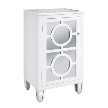 Crestview Collection One Door Left Hinged Mirrored Cabinet in White
