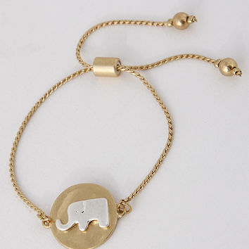 Elephant Shape Charm Adjustable Bracelet