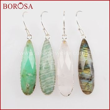 BOROSA 5Pairs New Silver Color Teardrop White Quartz Labradorite Faceted Charms Dangle Earrings Druzy Jewelry For Women S1524-E