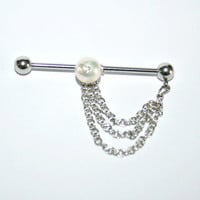 Industrial Barbell Ear Piercing with freshwater pearl-14 gauge (m1)