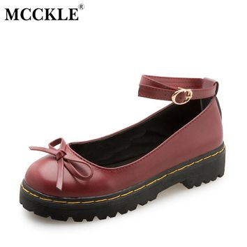 MCCKLE Female Bowtie Ankle Buckle Sewing Slip On Style Casual Black Platform Mid Heels 2017 Women's Fashion Autumn Lolita Shoes