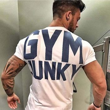Men's GYM word Short sleeve  Fitness T-shirt  Summer Bodybuilding Sports T Shirts Workout gyms top shirts Male Exercise Clothes