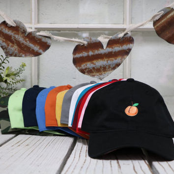 New Peach Embroidery Baseball Cap Low Profile Curved Bill - Multiple Colors