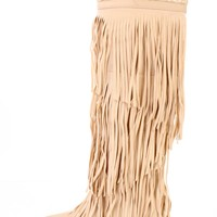 Nude Fringe Tiered Shaft Wedge Boots Nubuck