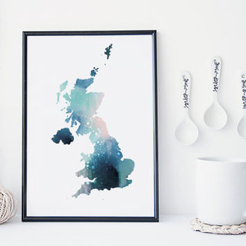 United Kingdom map, map wall art, UK, map poster,  watercolor map, home wall decor, map painting, apartment wall art, modern print