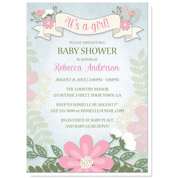 Baby Shower Invitations - Rustic Floral Southern Girl