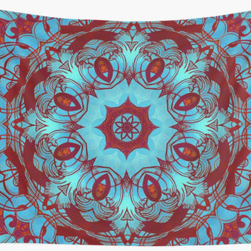 'mandala 6 blue red #mandala' Wall Tapestry by Lionmixart