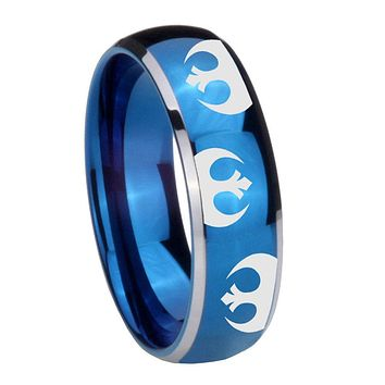 8MM Glossy Blue Dome Star Wars Rebel Alliance Tungsten Carbide 2 Tone Laser Engraved Ring