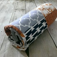 Small baby boy minky blanket - orange & navy, woodland fox arrows minky patchwork blanket - baby travel blanket 27in. x 32in.