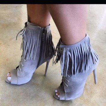Peep Toe Fringe Suede Lace Up Ankle Boots