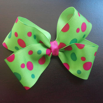 """Green Lime Green and Pink Fushia Polka Dots 4"""" Classic Boutique Bow- Baby Girls-Toddler Girls-Alligator Lined no slip clip"""