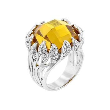 Yellow Vintage Cocktail Ring (size: 10) (pack of 1 ea)