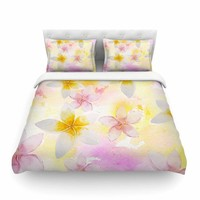 "Sylvia Cook ""White Watercolor Plumerias"" Yellow Pink Digital Featherweight Duvet Cover"