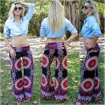 DCCK8H2 Sexy Women Boho Print Floral Blue Pants Summer Full Length Straight Loose Elastic Waist Low Waist Beach Pants Palazzo Trousers