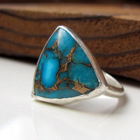 Turquoise Ring genuine turquoise sterling by littlebugjewelry